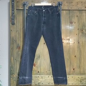 LEVIS FADED BLACK 501 36 BY 32 BUTTONFLY